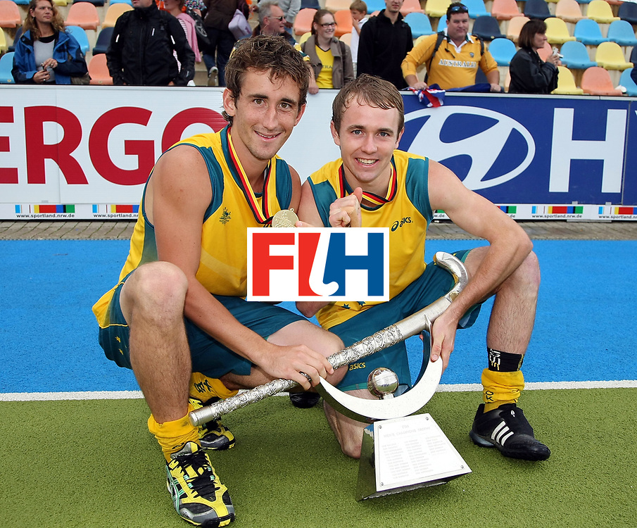 Mens Champions Trophy, Monchengladbach, Germany, 2010<br /> Day 6, 8/8/10, Mens Final, Australia v England<br /> Australia win the 2010 Champions trophy defeating England 4-0<br /> Jason Wilson and Matthew Swann with the Trophy<br /> Credit: Grant Treeby<br /> <br /> Editorial use only (No Archiving) Unless previously arranged