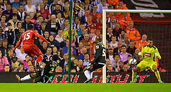 27.08.2013, Anfield, Liverpool, ENG, League Cup, FC Liverpool vs Notts County FC, 2. Runde, im Bild Liverpool's Daniel Sturridge scores the second goal against Notts County during the English League Cup 2nd round match between Liverpool FC and Notts County FC, at Anfield, Liverpool, Great Britain on 2013/08/27. EXPA Pictures © 2013, PhotoCredit: EXPA/ Propagandaphoto/ David Rawcliffe<br /> <br /> ***** ATTENTION - OUT OF ENG, GBR, UK *****