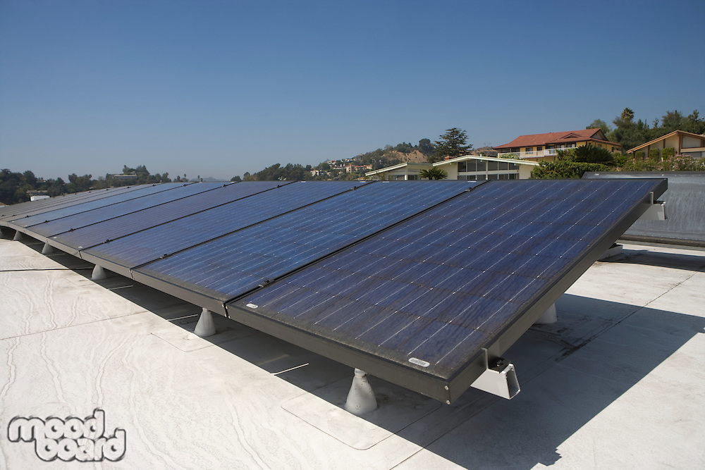 Solar array on rooftop in Los Angeles California