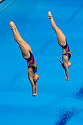 Yan Yee NG of Malaysia and Nur Dhabitah Sabri of Malaysia in the Women's Syncronised 3m dive during the FINA/CNSG Diving World Series 2019 at London Aquatics Centre, London, United Kingdom on 17 May 2019.