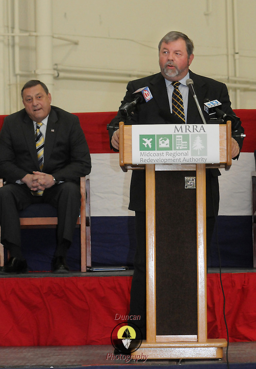 2/7/11 -- BRUNSWICK, Maine. Steve Levesque, Executive Director of Midcoast Regional Redevelopment Authority (MRRA), led the turnover ceremony at Naval Air Station Brunswick on Monday. The U. S. Navy passed the Hangar 6 over to the MRRA today in a ceremony attended by Maine Governor Paul LePage, Congresswoman Chellie Pingree and a host of other members of local and state government. Roger S. Duncan Photo / For The Forecaster