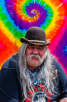 Old hippie, 420 Cannabis Culture Music Festival, Civic Center Park, Downtown Denver, Colorado USA. This was the first 4/20 celebration since recreational pot became legal in Colorado January 1, 2014. A crowd of up to 80,000 people attended the event.