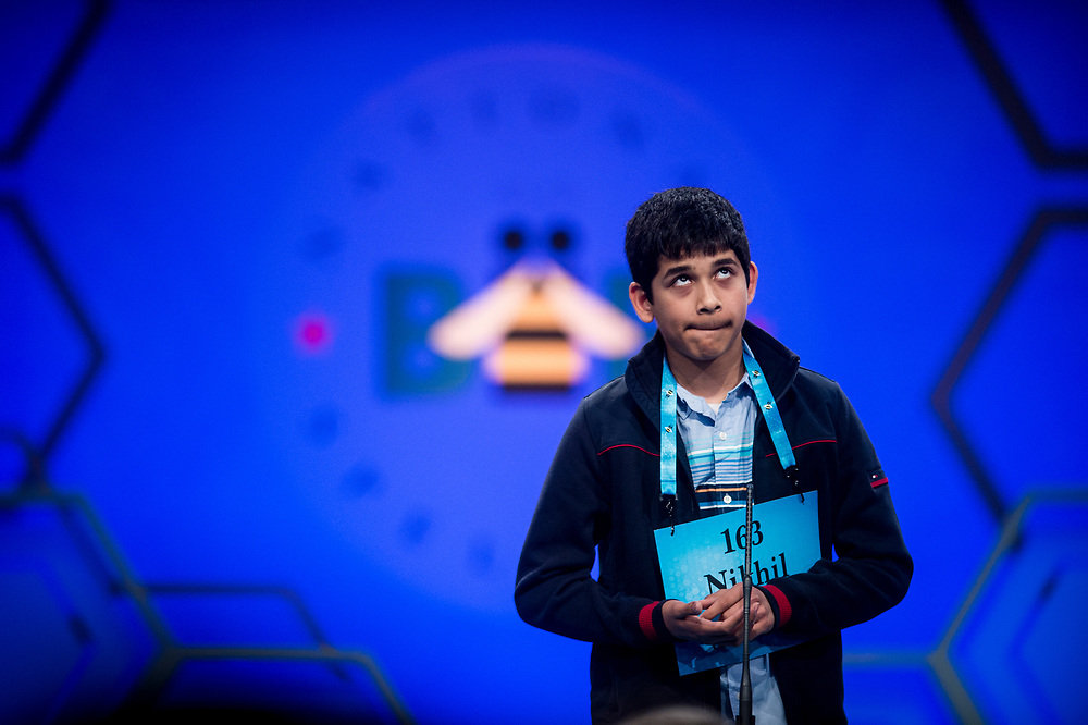 Nikhil Lahiri, 14, from Painted Post, N.Y., participates in the finals of the 2017 Scripps National Spelling Bee on Thursday, June 1, 2017 at the Gaylord National Resort and Convention Center at National Harbor in Oxon Hill, Md.      Photo by Pete Marovich/UPI