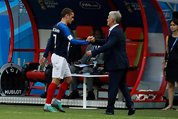 France's Antoine Griezmann with Didier Deschamps after his replacement during the 2018 FIFA World Cup Russia game 1/8 final game, France vs Argentina in Arena Stadium, Kazan, Russia on June 30, 2018. France won 4-3. Photo by Henri Szwarc/ABACAPRESS.COM
