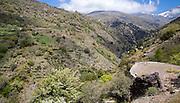 Landscape of the River Rio Poqueira gorge valley, High Alpujarras, Sierra Nevada, Granada Province, Spain