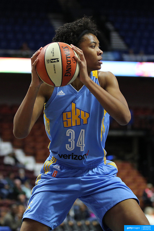 UNCASVILLE, CONNECTICUT- MAY 05:  Imani Boyette #34 of the Chicago Sky in action during the Atlanta Dream Vs Chicago Sky preseason WNBA game at Mohegan Sun Arena on May 05, 2016 in Uncasville. (Photo by Tim Clayton/Corbis via Getty Images)