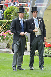 Left to right, HRH PRINCE HARRY and JAKE WARREN at the 1st day of the Royal Ascot Racing Festival 2015 at Ascot Racecourse, Ascot, Berkshire on 16th June 2015.