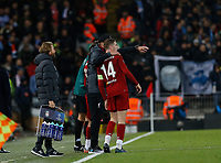 Football - 2019 / 2020 UEFA Champions League - Group E: Liverpool vs. Napoli<br /> <br /> Liverpool manager Jurgen Klopp gives instructions to Jordan Henderson, at Anfield.<br /> <br /> COLORSPORT/ALAN MARTIN