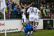 Forest Green Rovers Omar Bugiel(11), Forest Green Rovers Shamir Mullings(18) and Forest Green Rovers Mohamed Chemlal(25) celebrate their second goal  during the Vanarama National League match between York City and Forest Green Rovers at Bootham Crescent, York, England on 29 April 2017. Photo by Shane Healey.