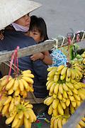 Rach Gia. Vinh Thanh Market along Cai Lon River. Bananas.