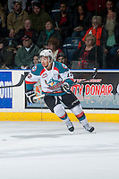 KELOWNA, CANADA - JANUARY 16: Tyrell Goulbourne #12 of Kelowna Rockets skates against the Seattle Thunderbirds on January 16, 2015 at Prospera Place in Kelowna, British Columbia, Canada.  (Photo by Marissa Baecker/Shoot the Breeze)  *** Local Caption *** Tyrell Goulbourne;