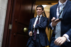 © Licensed to London News Pictures. 24/09/2019. London, UK. Rory Stewart MP leaves media studios in Westminster, following a historic ruling by the Supreme Court this morning that Boris Johnson's decision to suspend Parliament for five weeks was unlawful. Photo credit : Tom Nicholson/LNP