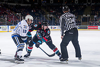 KELOWNA, CANADA - OCTOBER 5: Dante Hannoun #19 of the Victoria Royals faces off against Kyle Topping #24 of the Kelowna Rockets on October 5, 2018 at Prospera Place in Kelowna, British Columbia, Canada.  (Photo by Marissa Baecker/Shoot the Breeze)  *** Local Caption ***