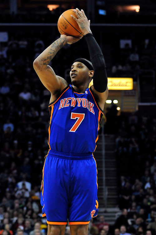 Feb. 25, 2011; Cleveland, OH, USA; New York Knicks small forward Carmelo Anthony (7) shoots a jumper during the second quarter against the Cleveland Cavaliers at Quicken Loans Arena. Mandatory Credit: Jason Miller-US PRESSWIRE