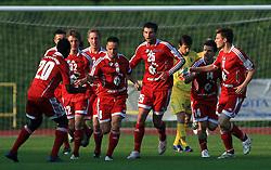 Players of Interblock (Ntame, Bozic, Rakovic, Covic, Elsner) celebrate at 1st semifinal match of Pokal Hervis between NK Interblock and NK Maribor at  ZAK Stadium, on April 15, 2009, in Ljubljana, Slovenia.  (Photo by Vid Ponikvar / Sportida)