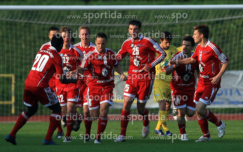 Players of Interblock (Ntame, Bozic, Rakovic, Covic, Elsner) celebrate at 1st semifinal match of Pokal Hervis between NK Interblock and NK Maribor at  ZAK Stadium, on April 15, 2009, in Ljubljana, Slovenia.  (Photo by Vid Ponikvar / Sportida)