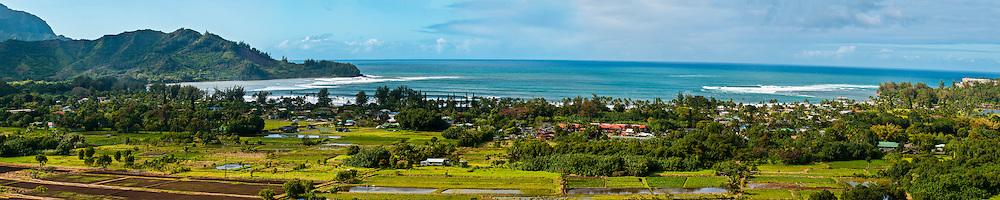 Panorama of Hanalei Bay, Kauai, Hawaii