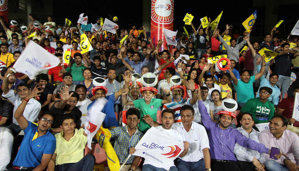 Fans during match 26 of the Pepsi Indian Premier League Season 2014 between the Delhi Daredevils and the Chennai Superkings held at the Ferozeshah Kotla cricket stadium, Delhi, India on the 5th May  2014<br /> <br /> Photo by Arjun Panwar / IPL / SPORTZPICS<br /> <br /> <br /> <br /> Image use subject to terms and conditions which can be found here:  http://sportzpics.photoshelter.com/gallery/Pepsi-IPL-Image-terms-and-conditions/G00004VW1IVJ.gB0/C0000TScjhBM6ikg