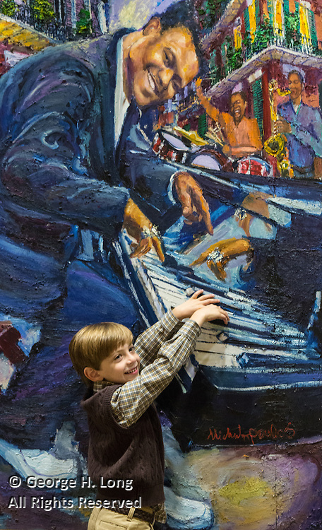 Eli Franco plays a duet with Fats Domino in James Michalopoulos' original painting