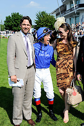 Left to right, DOUGRAY SCOTT, FRANKIE DETTORI and CLAIRE FORLANI  at the Investec Ladies Day at Epsom Racecourse, Surrey on 4th June 2010.