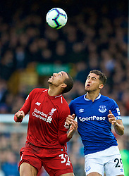 LIVERPOOL, ENGLAND - Sunday, March 3, 2019: Liverpool's Joel Matip (L) and Everton's Dominic Calvert-Lewin during the FA Premier League match between Everton FC and Liverpool FC, the 233rd Merseyside Derby, at Goodison Park. (Pic by Paul Greenwood/Propaganda)