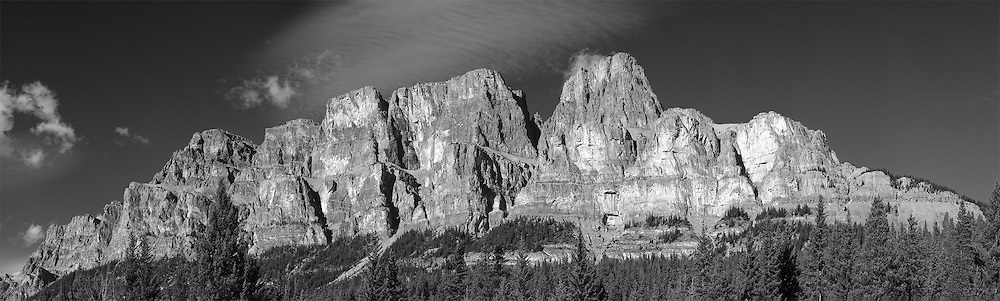 13-shot stitched panorama of Castle Mountain (Black & White conversion).