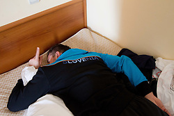 Primoz Prost sleeping during visit in the rooms of Slovenia Men Handball team during 5th day of 10th EHF European Handball Championship Serbia 2012, on January 19, 2012 in Hotel Srbija, Vrsac, Serbia.  (Photo By Vid Ponikvar / Sportida.com)