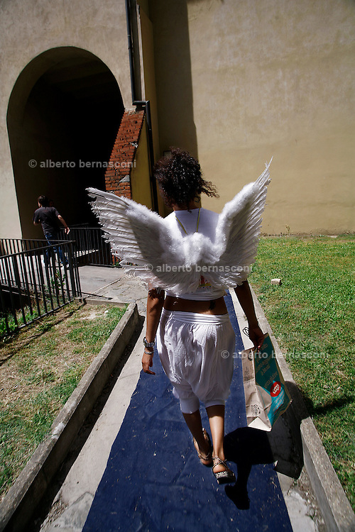 Italy, Florence, Fortezza da Basso, Fitfestival, festival hostess dressed like angel
