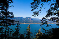 Views through the trees to the Columbia River from a hiking trail in the scenic Columbia River Gorge