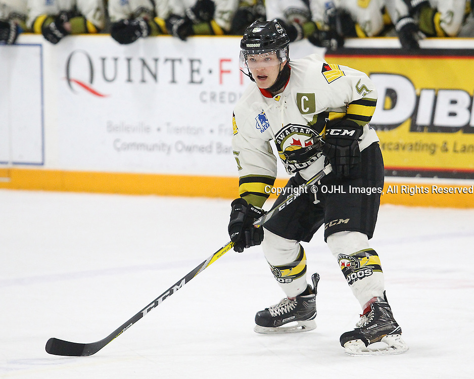 TRENTON, ON  - MAY 3,  2017: Canadian Junior Hockey League, Central Canadian Jr. &quot;A&quot; Championship. The Dudley Hewitt Cup Game 3 between Dryden GM Icedogs and Powassan Voodoos.    Eric Nagy #5 of the Powassan Voodoos waits for the pass during the first period<br /> (Photo by Alex D'Addese / OJHL Images)