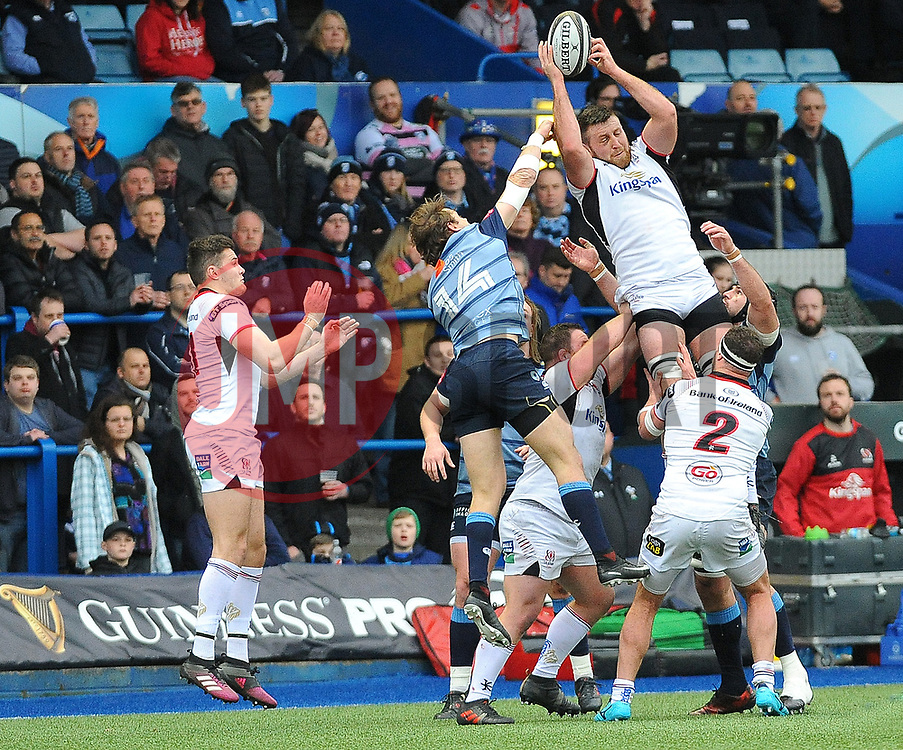 Josh Turnbull of Cardiff Blues wins the highball from the line out  - Mandatory by-line: Nizaam Jones/JMP- 24/03/2018 - RUGBY - BT Sport Cardiff Arms Park- Cardiff, Wales - Cardiff Blues v Ulster Rugby - Guinness Pro 14