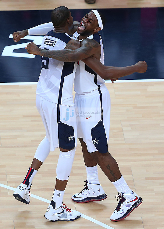 Kevin Durant (L) and LeBron James of the USA basketball team celebrate during their game against Spain during the men's final basketball game during day 16 of the London Olympic Games in London, England, United Kingdom on August 12, 2012..(Jed Jacobsohn/for The New York Times)..