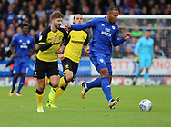 Luke Murphy of Burton Albion and Kenneth Zohore of Cardiff City during the Sky Bet Championship match at the Pirelli Stadium, Burton upon Trent<br /> Picture by Mike Griffiths/Focus Images Ltd +44 7766 223933<br /> 05/08/2017