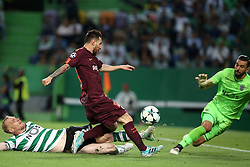 September 27, 2017 - Lisbon, Portugal - Barcelona's Argentine forward Lionel Messi (R ) vies with Sporting's defender Jeremy Mathieu from France and Sporting's goalkeeper Rui Patricio from Portugal during the UEFA Champions League football match Sporting vs Barcelona at the Alvalade stadium in Lisbon, Portugal on September 27, 2017. Photo: Pedro Fiuza  (Credit Image: © Pedro Fiuza/NurPhoto via ZUMA Press)