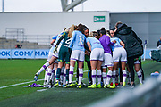 Manchester City Women huddle during the FA Women's Super League match between Manchester City Women and West Ham United Women at the Sport City Academy Stadium, Manchester, United Kingdom on 17 November 2019.