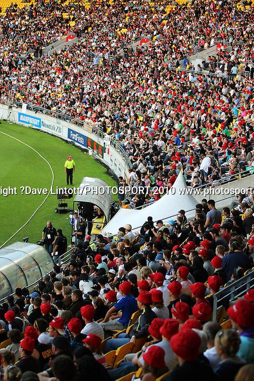A general view of the crowd.<br /> 1st Twenty20 cricket match - New Zealand v Australia at Westpac Stadium, Wellington. Friday, 26 February 2010. Photo: Dave Lintott/PHOTOSPORT