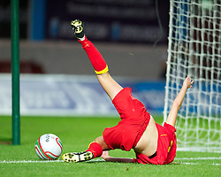 LLANELLI, WALES - Saturday, September 15, 2012: Wales' Sarah Wiltshire is brought down but no penalty was awarded during the UEFA Women's Euro 2013 Qualifying Group 4 match against Scotland at Parc y Scarlets. (Pic by David Rawcliffe/Propaganda)