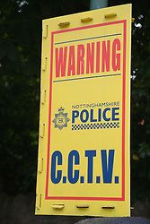 Nottinghamshire City Police sign warning of CCTV in the area,
