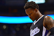 Nov 7, 2014; Phoenix, AZ, USA; Sacramento Kings guard Ben McLemore (23) reacts on the court against the Phoenix Suns in the first half at US Airways Center. Mandatory Credit: Jennifer Stewart-USA TODAY Sports