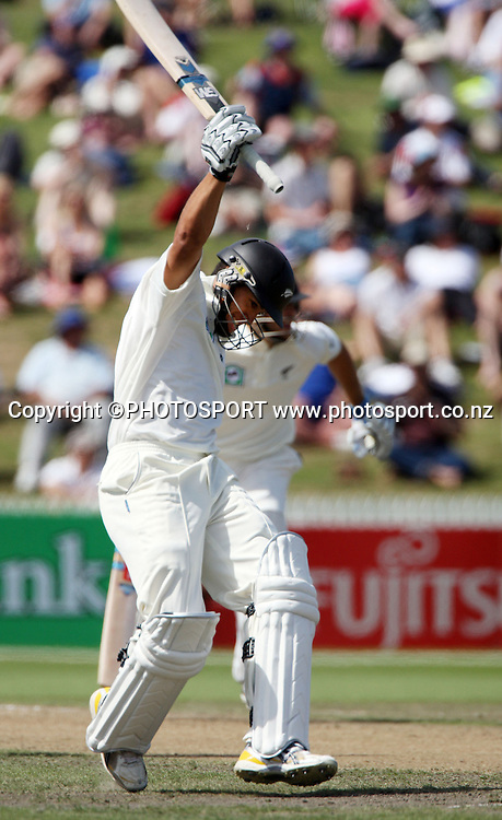 Ross Taylor celebrates as he brings up his maiden test century before lunch in the National Bank Test Match Series, New Zealand v England, 2nd day of 1st Test at Seddon Park, Hamilton, New Zealand. Thursday 6 March 2008. Photo: Stephen Barker/PHOTOSPORT