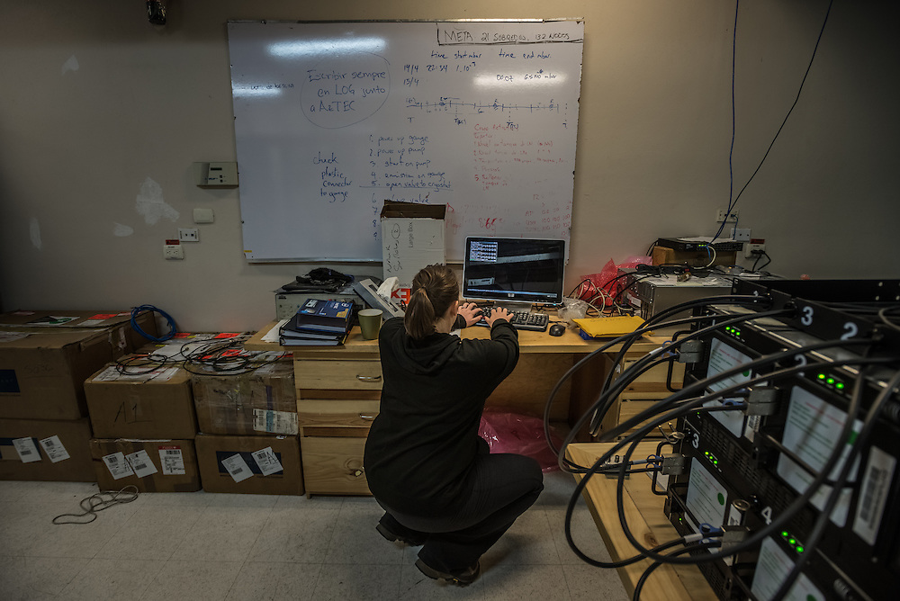 PICO DE ORIZABA NATIONAL PARK, PUEBLA, MEXICO - MARCH 26, 2015: Postdoctoral Fellow at Harvard-Smithsonian Center for Astrophysics, Laura Vertatschitsch, works to record data being received from the Large Millimeter Telescope (LMT) after successfully connecting the LMT to several other telescopes around the world to make one large telescope called the Event Horizon Telescope, as large as the earth that the LMT team believes has the capacity to make the first image of the black hole.   CREDIT: Meridith Kohut for The New York Times