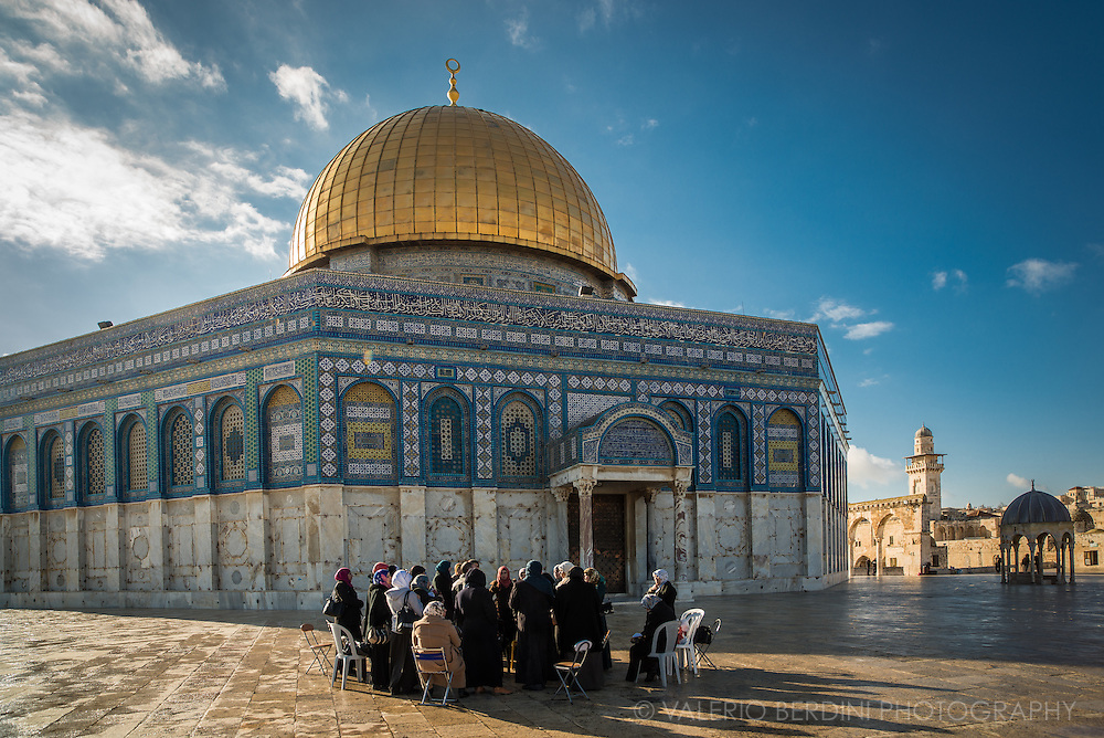 Muslim women form groups to read the Quran in the large esplanade surrounding the Dome of the Rock, within the Temple mount complex. The site, which also includes Al-Aqsa mosque is the third holiest site for Islam. Here it is believed Mohammed left earth to go to heaven on a winged horse.