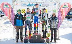 27.01.2018, Bad Mitterndorf, AUT, 39. Internationaler Steiralauf, 50 km Freie Technik, im Bild v. l. Organisationsleiter Helmut Fuchs, Georg Malle (AUT), 2. Platz, Alexander Weingärtner (GER), 1. Platz, Thomas Kroiß (GER), 3. Platz, Bürgermeister von Bad Mitterndorf Manfred Ritzinger // f. l. event manager Helmut Fuchs, 2nd placed Georg Malle of Austria, 1st placed Alexander Weingärtner of Germany, 3rd placed Thomas Kroiß of Germany, mayor of Bad Mitterndorf Manfred Ritzinger during the 39th international Steiralauf 50 km Freestyle in Bad Mitterndorf, Austria on 2018/01/27. EXPA Pictures © 2018, PhotoCredit: EXPA/ Martin Huber