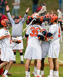 Virginia celebrates a goal against UMD.  The #9 ranked Maryland Terrapins fell to the #1 ranked Virginia Cavaliers 10 in 7 overtimes in Men's NCAA Lacrosse at Klockner Stadium on the Grounds of the University of Virginia in Charlottesville, VA on March 28, 2009.