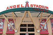 ANAHEIM, CA - MAY 22:  General view photo of the main entrance taken outside the stadium at the game between the Atlanta Braves and the Los Angeles Angels of Anaheim on Sunday, May 22, 2011 at Angel Stadium in Anaheim, California. The Angels won the game 4-1. (Photo by Paul Spinelli/MLB Photos via Getty Images)