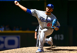 May 3, 2018 - Phoenix, AZ, U.S. - PHOENIX, AZ - MAY 03: Los Angeles Dodgers relief pitcher Yimi Garcia (63) pitches during the MLB baseball game between the Arizona Diamondbacks and the Los Angeles Dodgers on May 3, 2018 at Chase Field in Phoenix, AZ (Photo by Adam Bow/Icon Sportswire) (Credit Image: © Adam Bow/Icon SMI via ZUMA Press)