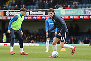 Southend United defender Sam Hart (42) warming up during the EFL Sky Bet League 1 match between Southend United and AFC Wimbledon at Roots Hall, Southend, England on 16 March 2019.