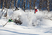 Matt Belzile (left) Lucas Debari (middle) and Tim Eddy (right) enjoy powder and sunshine in the Hakuba backcountry, Japan.