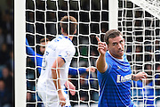 Gillingham forward Cody MacDonald (10) celebrates scoring (1-0)during the EFL Sky Bet League 1 match between Gillingham and Oldham Athletic at the MEMS Priestfield Stadium, Gillingham, England on 8 October 2016. Photo by Martin Cole.