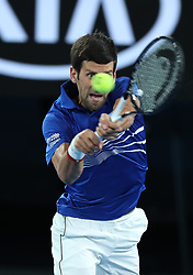 MELBOURNE, Jan. 17, 2019  Novak Djokovic of Serbia returns the ball during the men's singles second round match against Jo-Wilfried Tsonga of France at the Australian Open in Melbourne, Australia, Jan. 17, 2019. (Credit Image: © Bai Xuefei/Xinhua via ZUMA Wire)